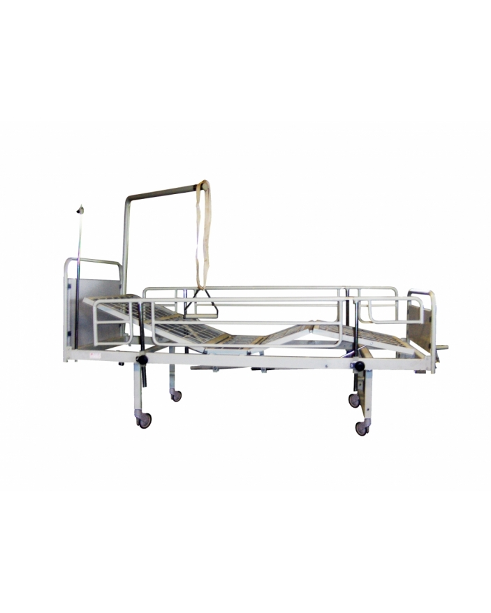 pat spital cu laterale, perfuzor, roti sectiuni si suport ridicare pacient