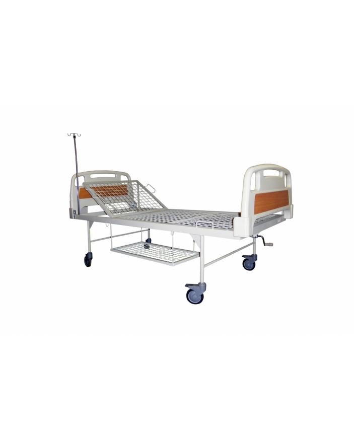 pat spital 2 sectiuni capete ABS picioare retrase cu roti