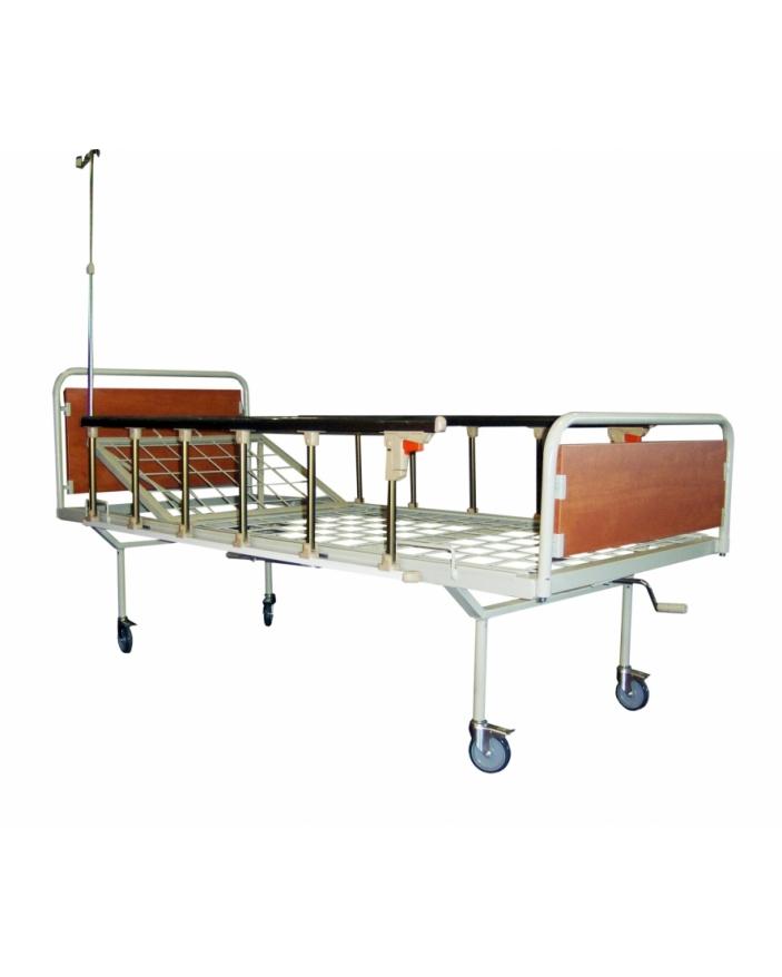 Pat spital din otel cu picioare retrase ,roti,capete pal,perfuzor si laterale